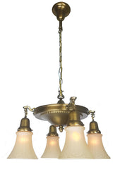 Antique Circa 1920, Four Light Pan Fixture with an Embossed Beaded Center Body and Cast Arms.