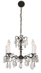 Antique Circa 1930, Five Light Spanish Cast Brass and Crystal Chandelier with Acanthus Details.