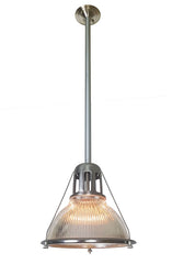 SET AVAILABLE - Antique Circa 1910, Single Light Original Holophane Pendant Fixtures with Original Satin Steel Finish.