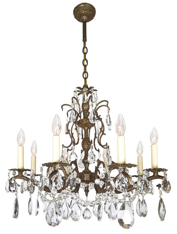 Antique Circa 1930, Eight Light Spanish Cast Scroll Brass and Crystal Chandelier with Pineapple and Acanthus Details.