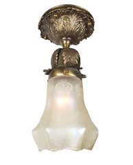 Antique Circa 1910, Single Light Decorative Cast Acanthus Flush Mount with a Stunning Antique Acid Etched Shade.