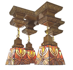 Antique Circa 1910, Four Light Arts and Crafts Edwardian Close Mount Pan Fixture with Leaded Glass Shades.