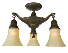 Antique Circa 1920, Three Light Edwardian Close Mount Pan Fixture with Elaborate Cast Arms and Embossed Centerbody..