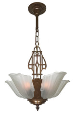 Antique Circa 1930, Five Light, Markel Art Deco Slipper Shade Fixture with Geometric Detailing.