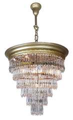 Antique Circa 1920, Spectacular Four Light, Wedding Cake Chandelier with Cast Acanthus Details and Tiered Crystals.
