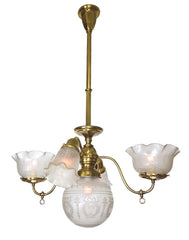 Antique Circa 1900, Five Light, Converted Gas / Electric Fixture with Antique Acid Etched Shades.