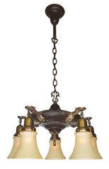Antique Circa 1915 Five Light Pan Fixture with Antique Brass and Bronze finish and Cast Acanthus Arms