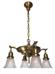 Antique Circa 1915 Four Light Pan Fixture with Cast Acanthus Arms and Antique Gillinder Pressed Glass Fishscale Shades.