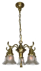 Antique Circa 1910 Five Light Transitional Edwardian and Art Nouveau Scroll Arm Fixture with Antique Star Cut Shades.