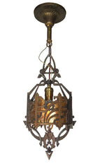 Antique Circa 1930 Lightolier Single Light Art Deco Pendant Fixture with Amber Mica Panels.