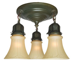 Antique Circa 1915 Three Light Flush Mount Fixture with Ringed Center Body.