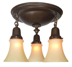 Antique Circa 1915 Three Light Flush Mount Fixture with an Embossed Beaded Border.