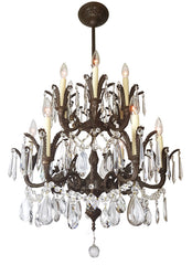 Antique Circa 1930 12 Light Spanish Cast Brass and Crystal Two Tiered Chandelier