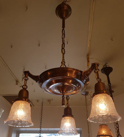 Antique Circa 1920 Three Light Pan Fixture with Cast Shell Scroll Arms and Antique Pressed Glass Fleurs de Lis Shades.