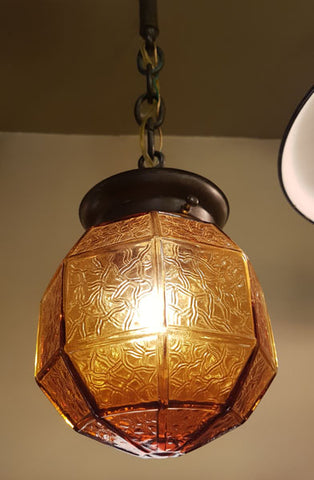 Antique Circa 1910 Single Light Arts and Crafts Exterior Pendant with Amber Crackle Glass Shade.