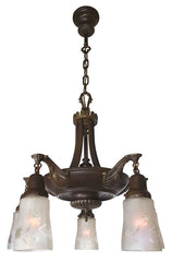 Antique Circa 1910 Five Light Edwardian Pan Fixture with Scroll Risers and Cast Shell Fleurette Arms.