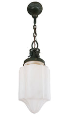 Antique Circa 1910 Single Light Exterior Pendant Fixture with Crown and Shield Motifs fitted with an Antique Stenciled Milk Glass Shade.