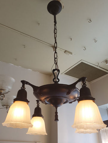Antique Circa 1920 Four Light Pan Fixture with Tapered Cast Scroll Arms and Tassle Finial.