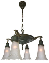 Antique Circa 1915 Large Four Light Edwardian Pan Fixture with Cast Ovid Scroll Arms and Antique Cut Glass Shades.