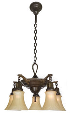 Antique Circa 1920 Five Light Pan Fixture with Cast Neoclassical Arms and Decorative Shade Holders.