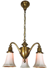 Antique Circa 1905 Three Light Art Nouveau Cast Scroll Arm Fixture with Antique Opal Gold Aurene Art Glass Shades.