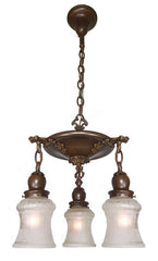 Antique Circa 1910 Three Light, Pan Fixture with Cast Floral Arms, Decorative Handel Shade Holders and Antique Shades.