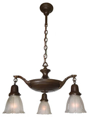 Antique Circa 1920 Three Light, Pan Fixture with Cast Acanthus Arms, Ringed Center Body and Antique Shades.