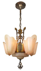 Spectacular Antique Circa 1930, Five Light, Art Deco Slipper Shade Fixture with Greco Roman Motifs.