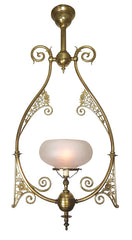 Antique Circa 1880, Single Light, Eastlake Gas Converted Hall Hoop Fixture with Floral and Leaf Filigree and Antique Acid Etched Shade.