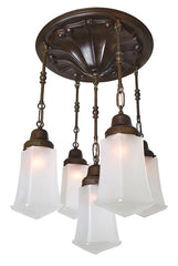 Antique Circa 1910 Five Light, Cascade Fixture with an Embossed Paneled Ceiling Medallion and Mackintosh Shades.