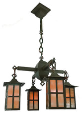 Antique Circa 1910 Four Light, Arts and Crafts Fixture with Butterscotch Glass Shades.