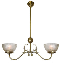 Antique Circa 1890 Two Light, Converted Gas Fixture with Embossed Details and Antique Stencil Etched Glass Shades.