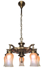Antique Circa 1910 Early Edwardian Five Light Pan Fixture with Cast Ovid Arms and Handblown Art Glass Shades.