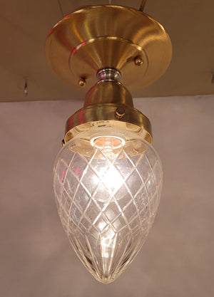 PAIR AVAILABLE - Circa 1910 Antique Cut Glass Tear Drop Shade Fitted onto our Handmade Brass Flush Mount Fixture.