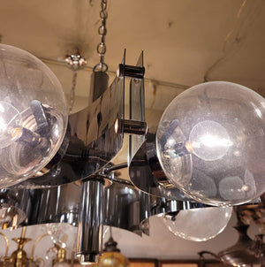 Vintage 1960s Virden Atomic Chandelier with Clear Glass Ball Shades.