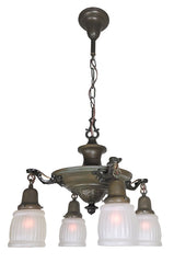Antique Circa 1920 Edwardian Four Light Pan Fixture with Cast Acanthus Arms and Antique Frosted Glass Shades.