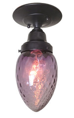 Antique Circa 1930, Single Light, Purple Bullet Glass Shade fitted on our Handmade Black Patina Flush Mount Fixture.