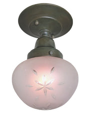 Antique Circa 1910, Single Light, Star Cut Glass Shade fitted on our Handmade Verde and Wax Patina Flush Mount Fixture.