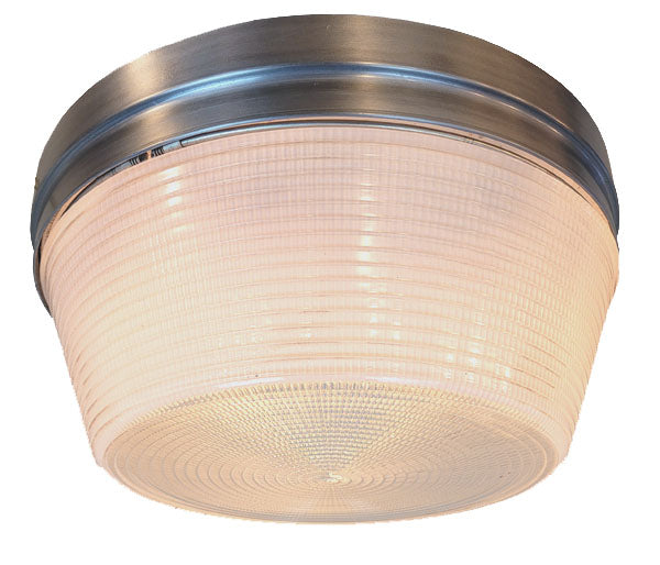 Vintage 1960s Three Light Holophane Flush Mount with Original Satin Finish.