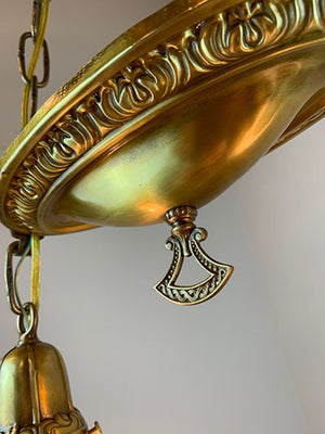 "Antique 1910 Chain Suspended Embossed Oval Fixture with Decorative 2 1/4"" Fitters and Antique Acid Etched Shades"