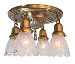 Antique Circa 1910 Four Light, Sheffield Embossed Flush Mount Fixture with Antique Floral Pressed Glass Shades.