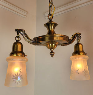 Antique Circa 1920 Two Light, Pan Fixture with Cast Floral Arms and Antique Etched Glass Shades.