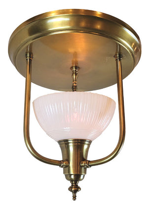 Antique Circa 1930 Single Light, Art Deco Flush Mount Fixture with Antique Pudding Bowl Glass Shade.