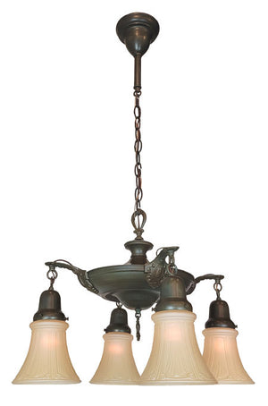 Antique Circa 1920 Edwardian Four Light Pan Fixture with Cast Ovid and Shell Arms.