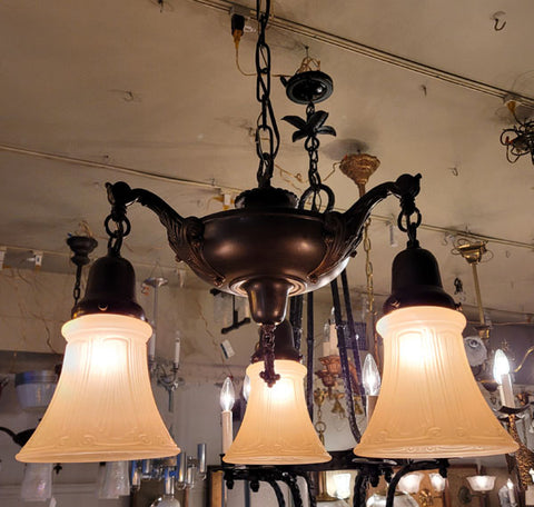 Antique Circa 1920 Three Light, Pan Fixture with an Elongated Center Body and Cast Acanthus Scroll Arms.