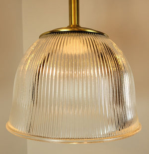 $800 PAIR - Vintage Signed Endural Holophane Glass Shades fitted onto our Handmade Satin Brass Pendant Fixtures.