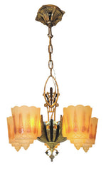 Antique Circa 1930 Five Light, Art Deco Duolite Slipper Shade Fixture with Antique Canary Glass Shades.