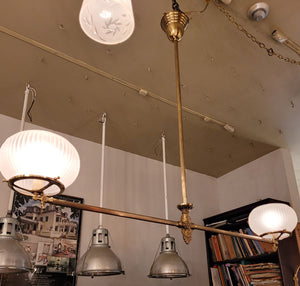 Antique Circa 1880 Converted Gas Commercial Store Fixture with Antique Frosted Glass Shades.