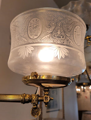 Antique Circa 1880 Converted Gas Commercial Store Fixture with Vianne Glass Gas Shades.