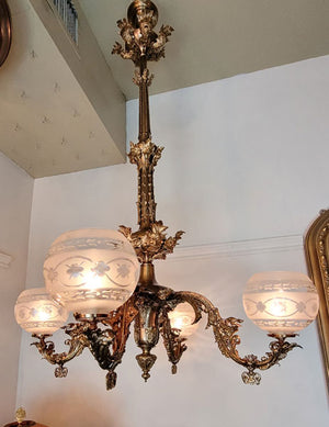 Incredible Antique Circa 1855 Four Light, Starr Fellows and Company Converted Gasolier with Original Cut Glass Gas Shades.